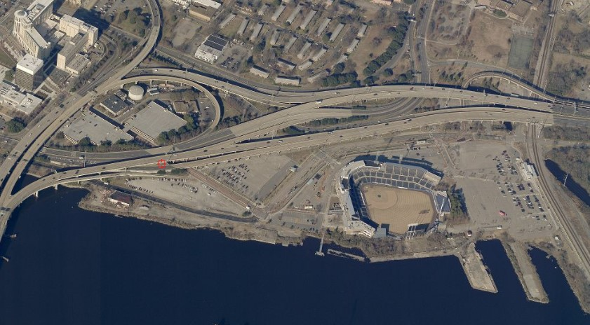 Aerial View of Harbor Park brownfield