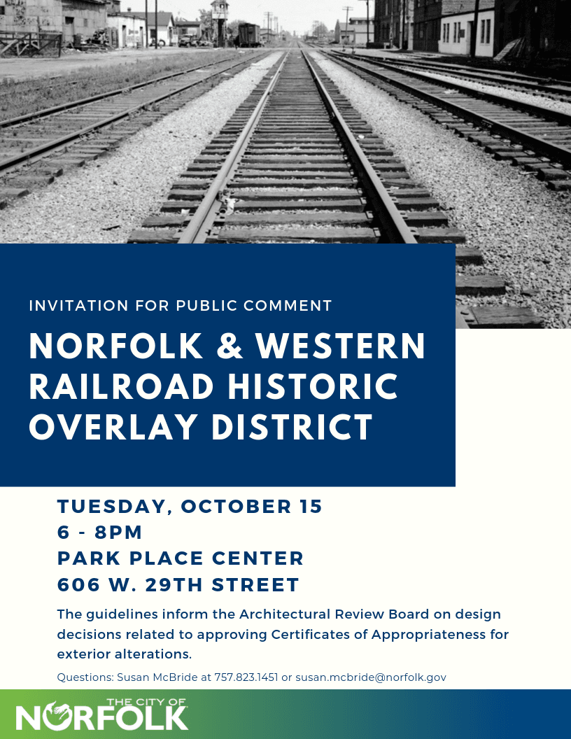 invitation for public comment on norfolk & western historic railroad district flyer