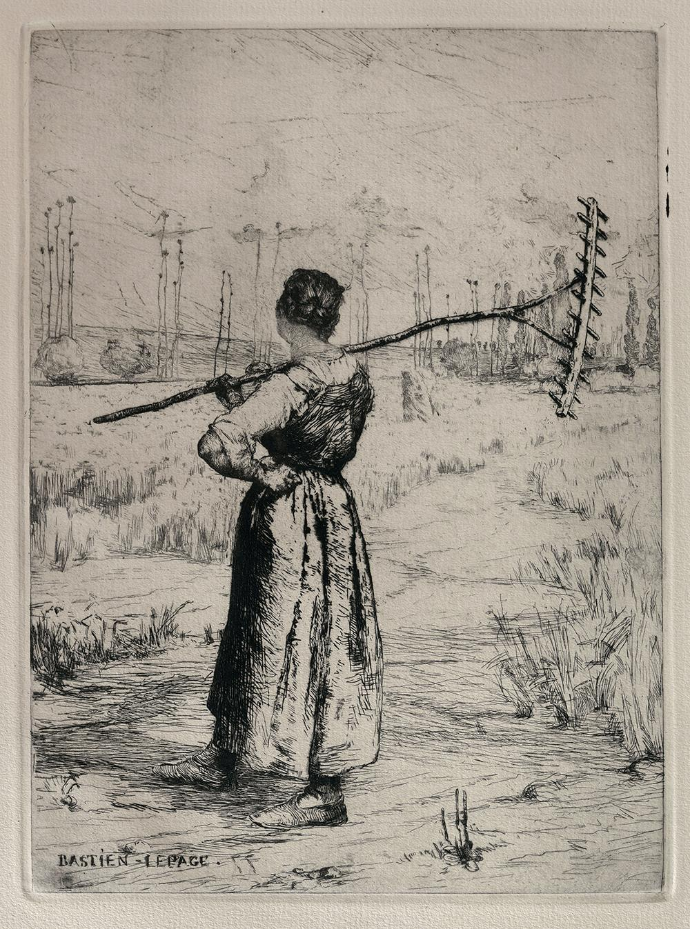 Pen and ink drawing of European farm woman standing in a field