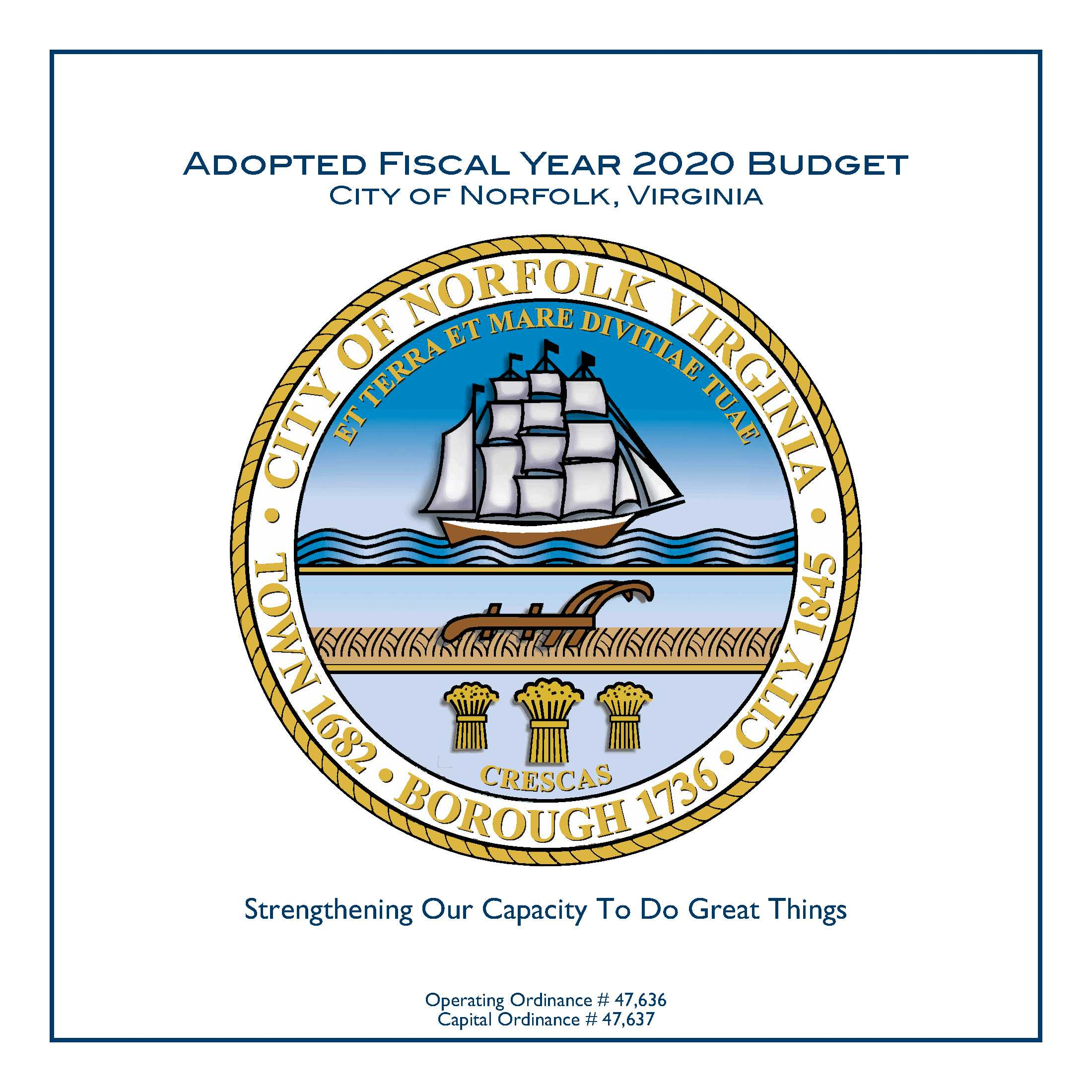 FY 2020 Adopted Budget Cover