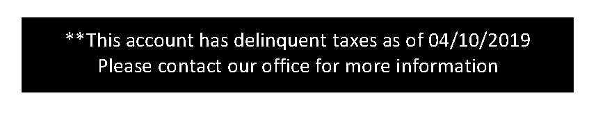 Delinquent Tax Message