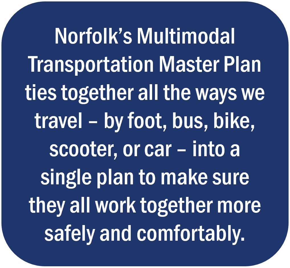"graphical text box stating ""Norfolk's Multimodal Transportation Master Plan will tie together all the ways we travel – by foot, bus, bike, scooter or car – into a single plan to make sure they all work together more safely and comfortably."""