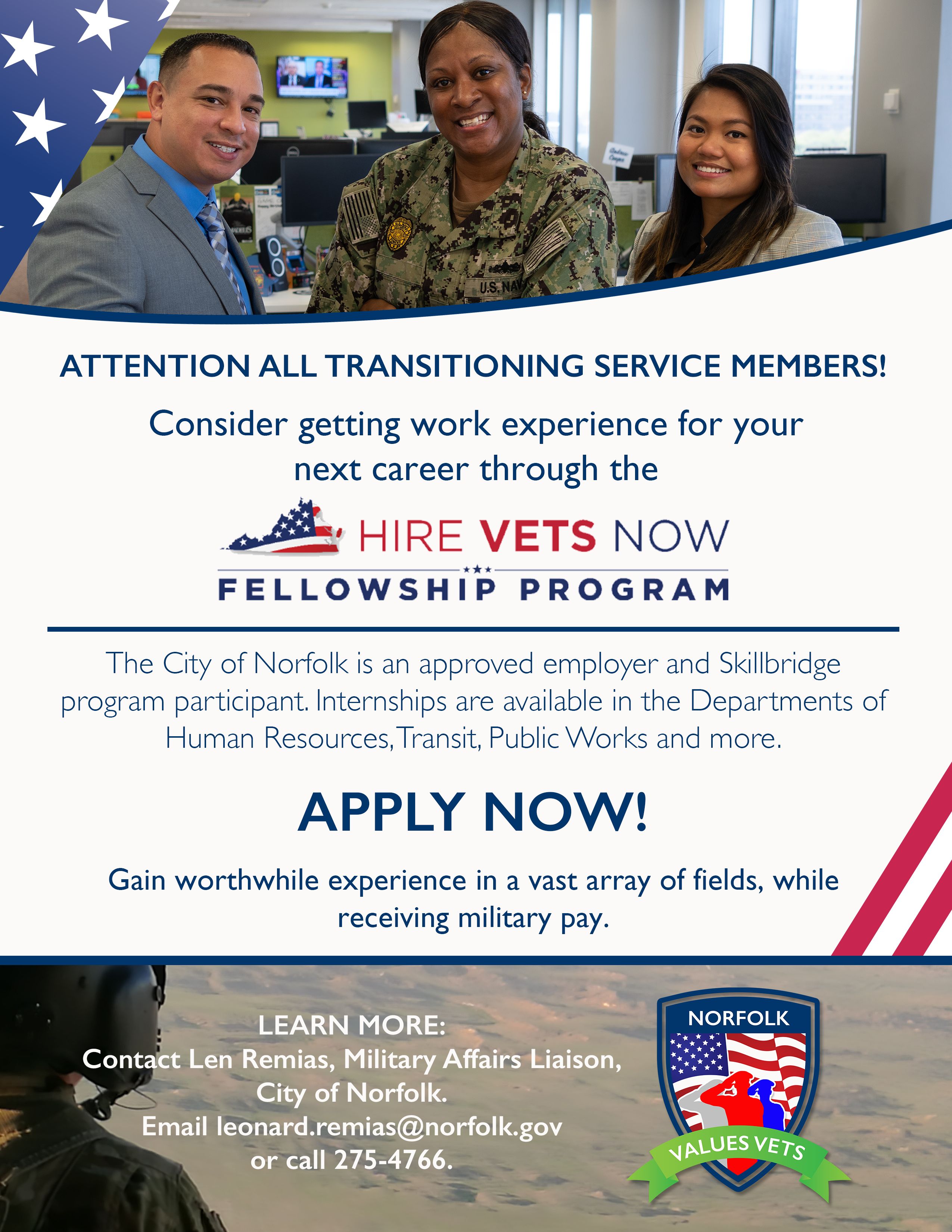 Hire Vets Now Service Member Flyer Image