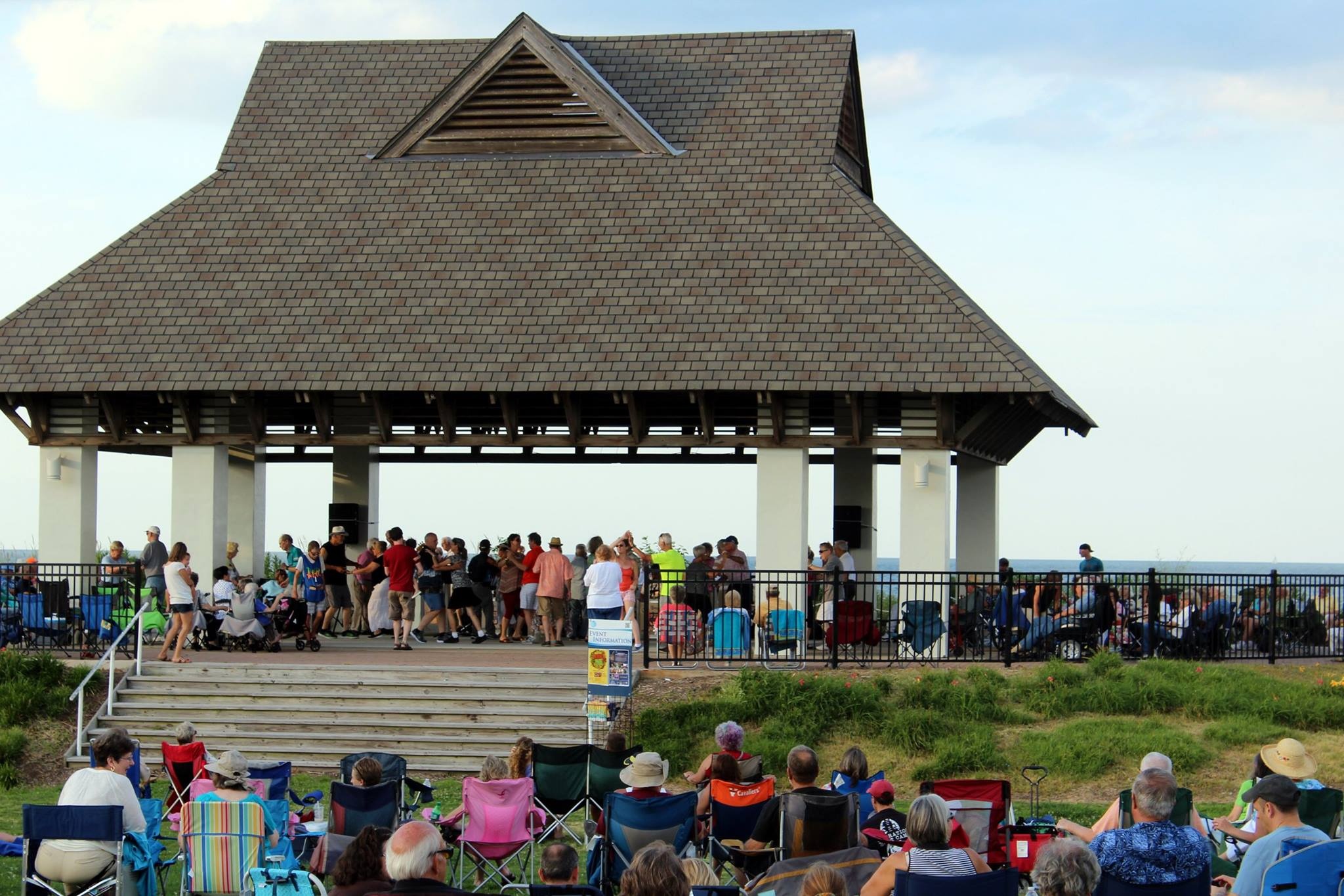 Enjoying a concert at the Ocean View Beach Park Pavillion