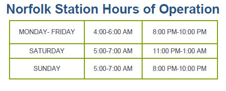 Norfolk Amtrak Station  Hours of Operation