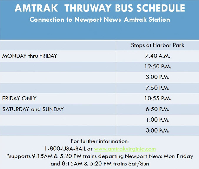 Amtrak Thruway Bus Schedule