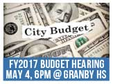 FY2017 Budget Hearing, Wednesday, Ma4th, 6pm at Granby High School