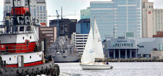 Elizabeth River with a Tugboat, Sailboat and the USS Wisconsin
