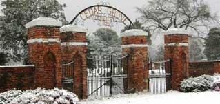 Cedar Grove Entrance in the Snow