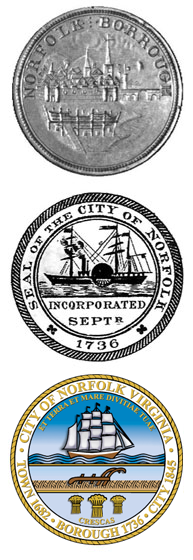 1740s, 1845 and current City of Norfolk Seals