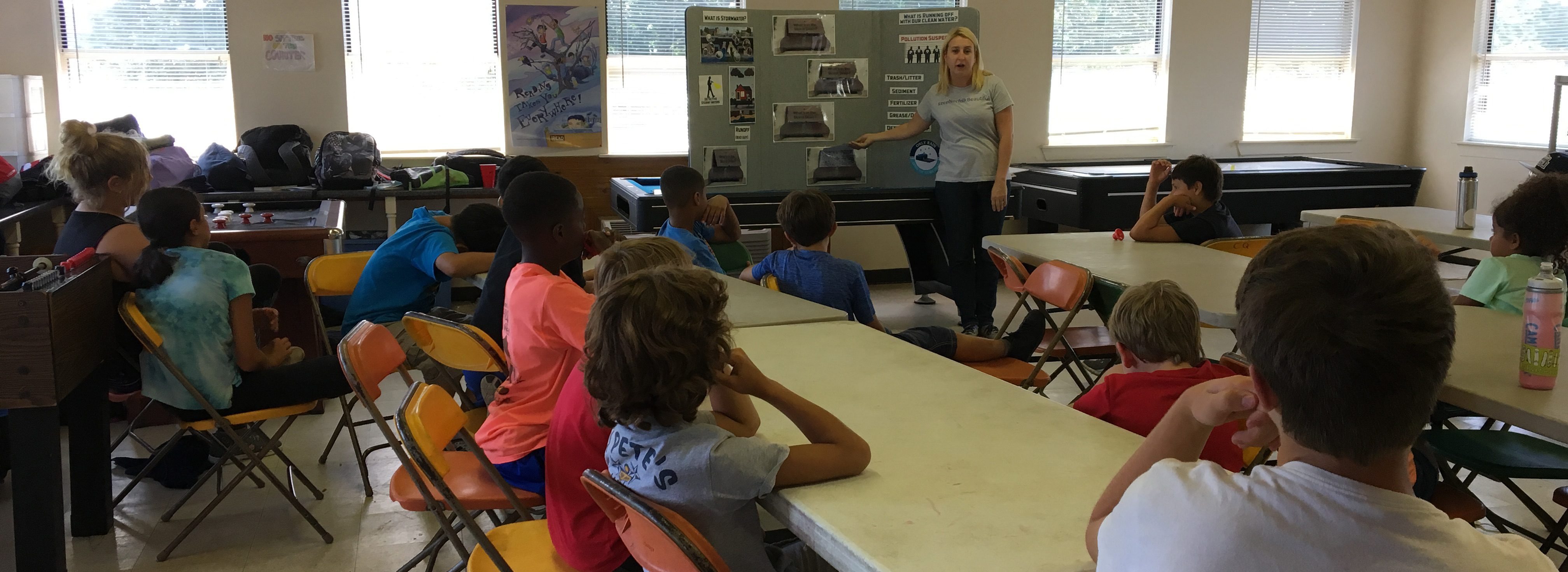 children in a classroom watching a stormwater presentation